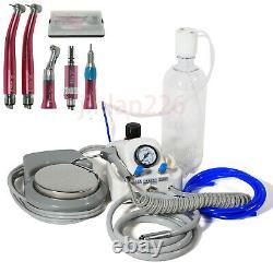 Dental Portable Air Turbine Unit No Compressor / High Low Speed Kit 4 Hole Pink