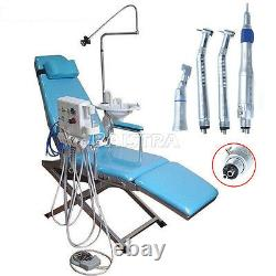 Portable Dental Folding Chair Treat Unit with High&Low Speed Handpiece Kit 4Hole
