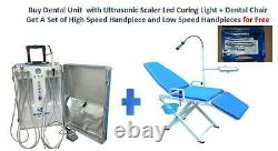 Portable Dental Unit With Air Compressor +Dental Chair+High Low Speed Handpieces